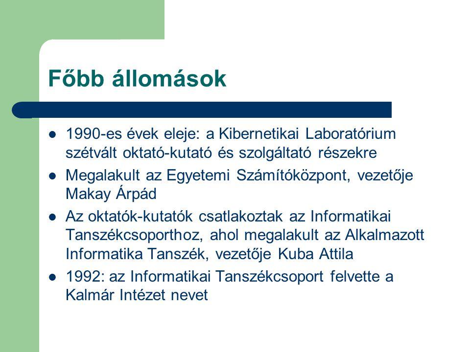 Főbb állomások 1990-es évek eleje: a Kibernetikai Laboratórium szétvált oktató-kutató és szolgáltató részekre.