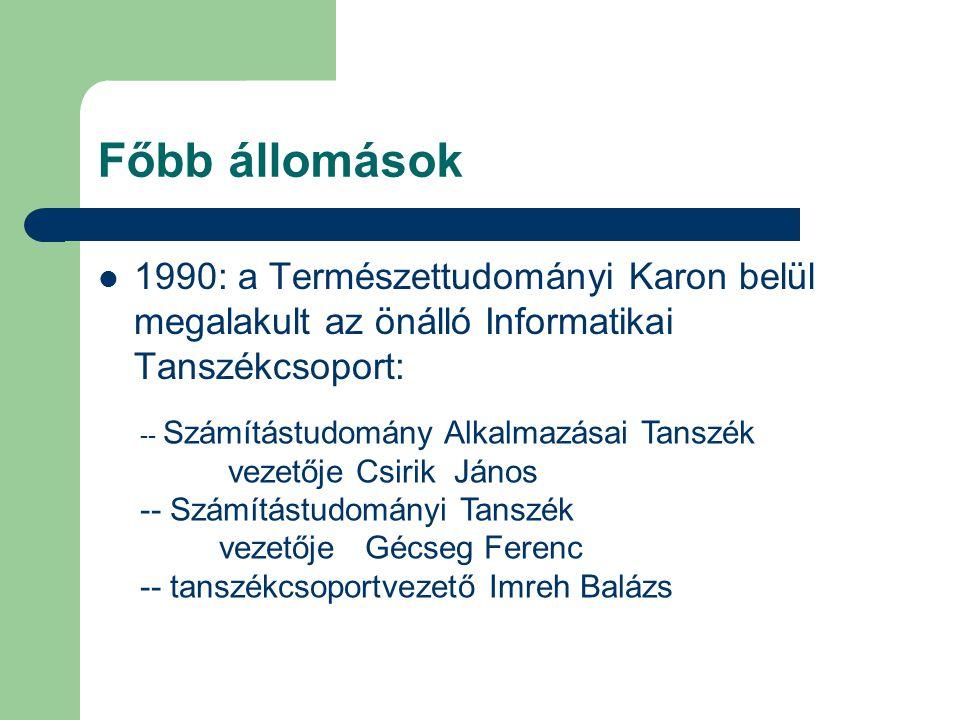 Főbb állomások 1990: a Természettudományi Karon belül megalakult az önálló Informatikai Tanszékcsoport: