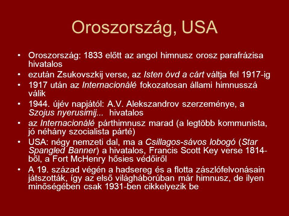 Oroszország, USA Oroszország: 1833 előtt az angol himnusz orosz parafrázisa hivatalos.