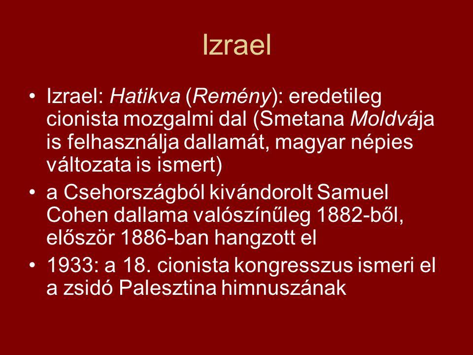 Izrael Izrael: Hatikva (Remény): eredetileg cionista mozgalmi dal (Smetana Moldvája is felhasználja dallamát, magyar népies változata is ismert)