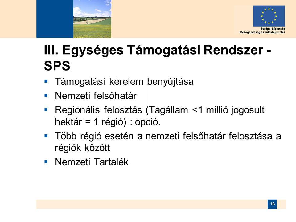 III. Egységes Támogatási Rendszer - SPS