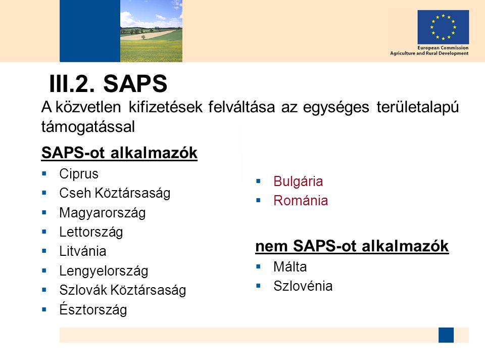 III.2. SAPS A közvetlen kifizetések felváltása az egységes területalapú támogatással. SAPS-ot alkalmazók.