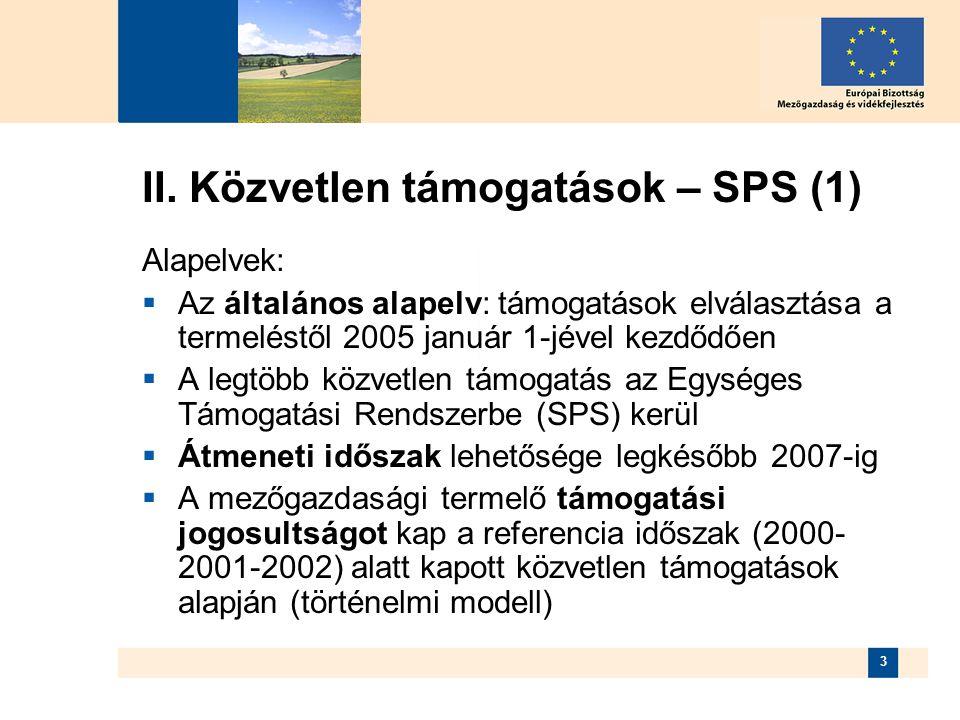 II. Közvetlen támogatások – SPS (1)