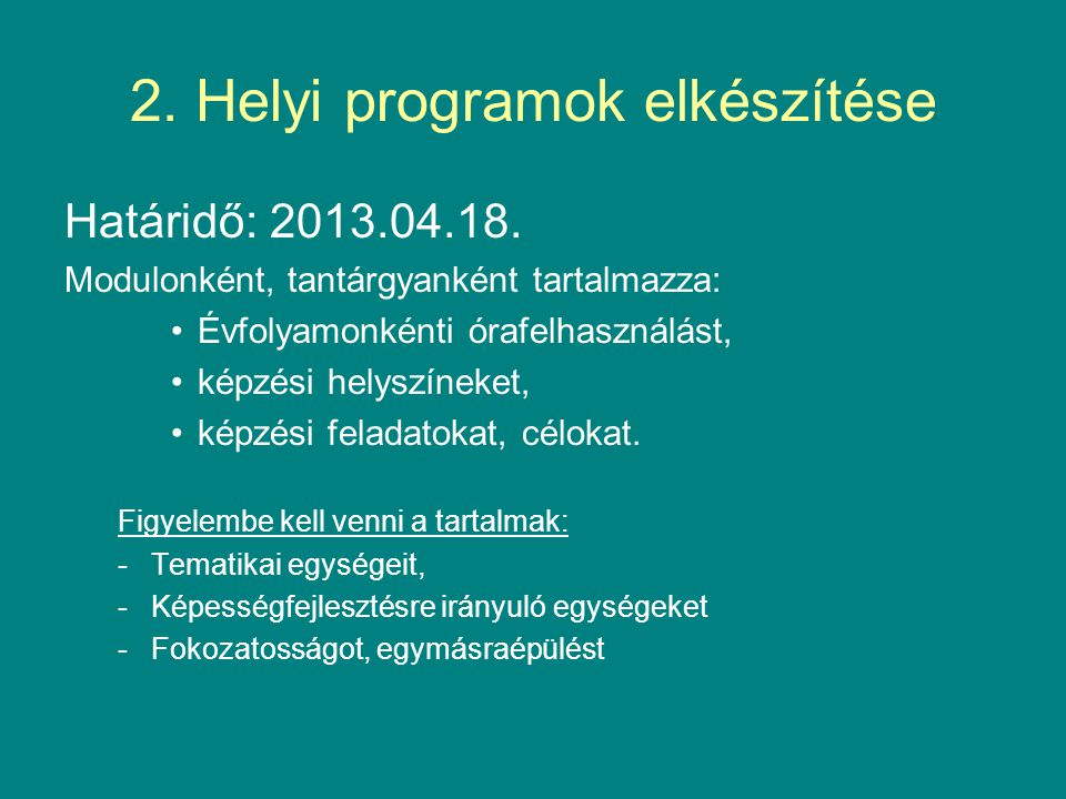 2. Helyi programok elkészítése
