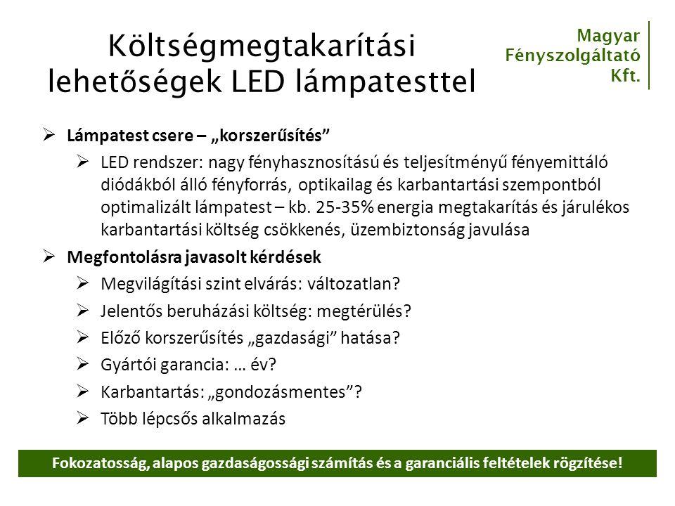 Költségmegtakarítási lehetőségek LED lámpatesttel