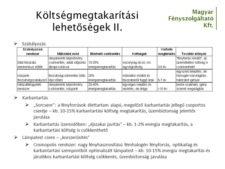 Költségmegtakarítási lehetőségek II.
