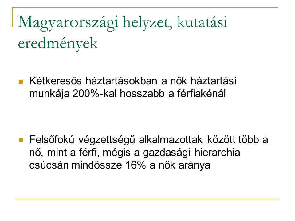 Magyarországi helyzet, kutatási eredmények