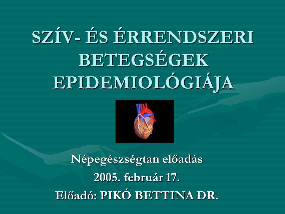 SZÍV- ÉS ÉRRENDSZERI BETEGSÉGEK EPIDEMIOLÓGIÁJA