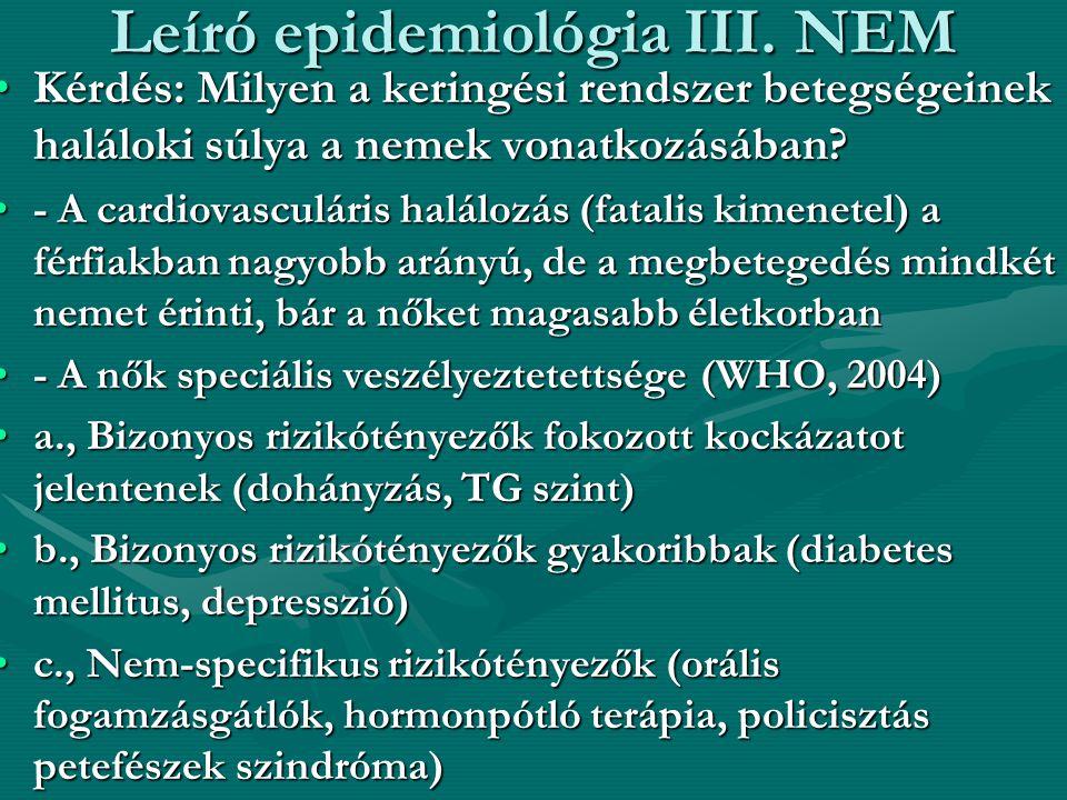 Leíró epidemiológia III. NEM