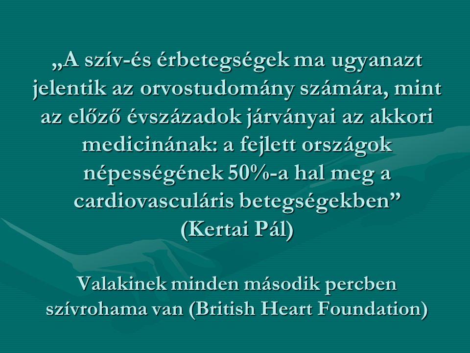 """""""A szív-és érbetegségek ma ugyanazt jelentik az orvostudomány számára, mint az előző évszázadok járványai az akkori medicinának: a fejlett országok népességének 50%-a hal meg a cardiovasculáris betegségekben (Kertai Pál) Valakinek minden második percben szívrohama van (British Heart Foundation)"""