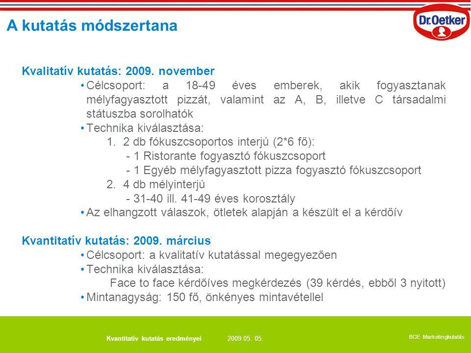 A kutatás módszertana Kvalitatív kutatás: 2009. november