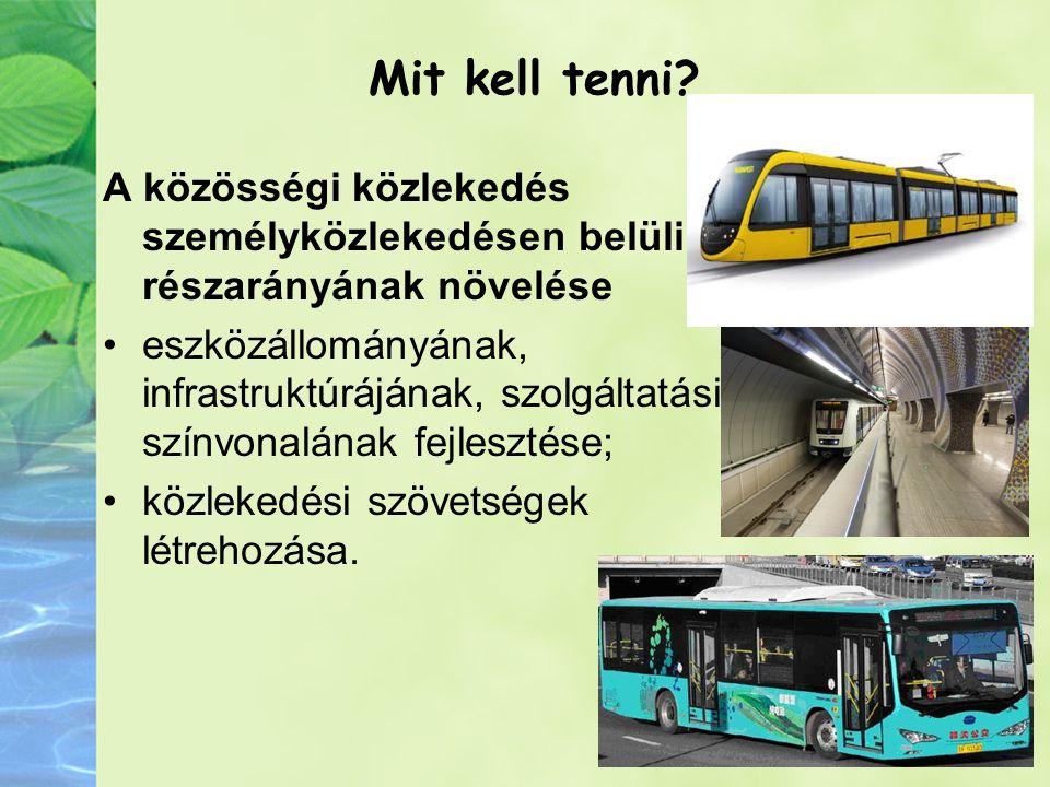 Mit kell tenni A közösségi közlekedés személyközlekedésen belüli részarányának növelése.
