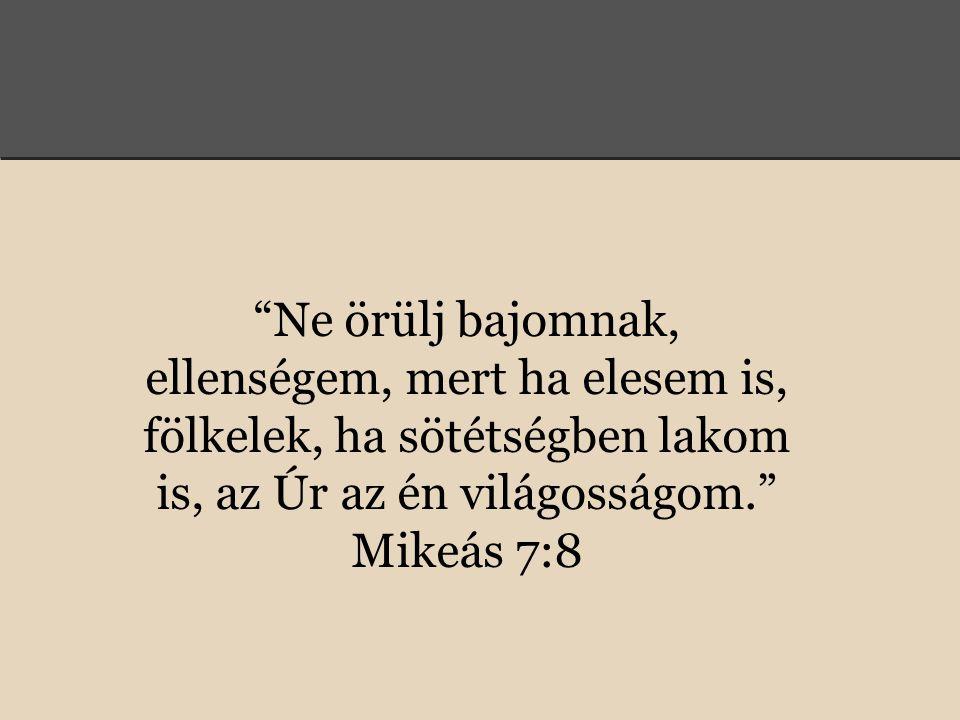 Ne örülj bajomnak, ellenségem, mert ha elesem is, fölkelek, ha sötétségben lakom is, az Úr az én világosságom. Mikeás 7:8