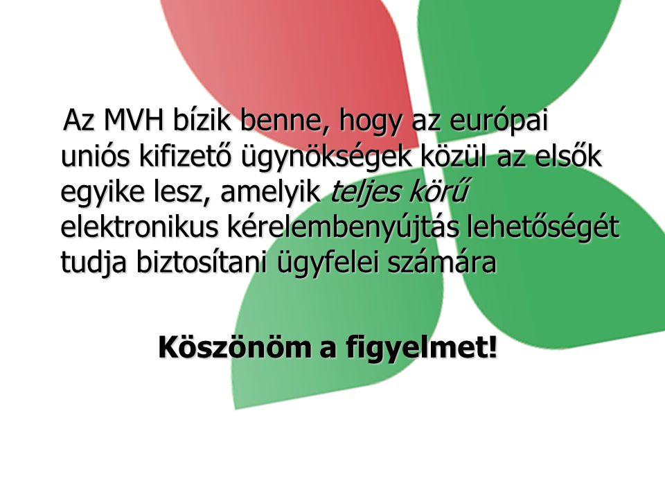 Az MVH bízik benne, hogy az európai uniós kifizető ügynökségek közül az elsők egyike lesz, amelyik teljes körű elektronikus kérelembenyújtás lehetőségét tudja biztosítani ügyfelei számára