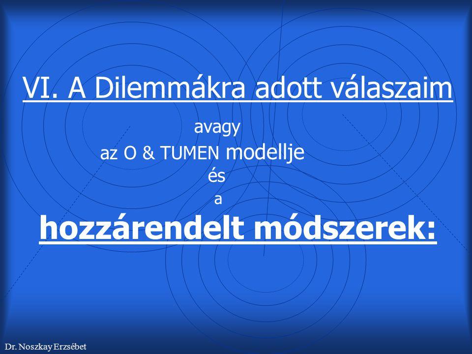 VI. A Dilemmákra adott válaszaim. avagy. az O & TUMEN modellje. és. a