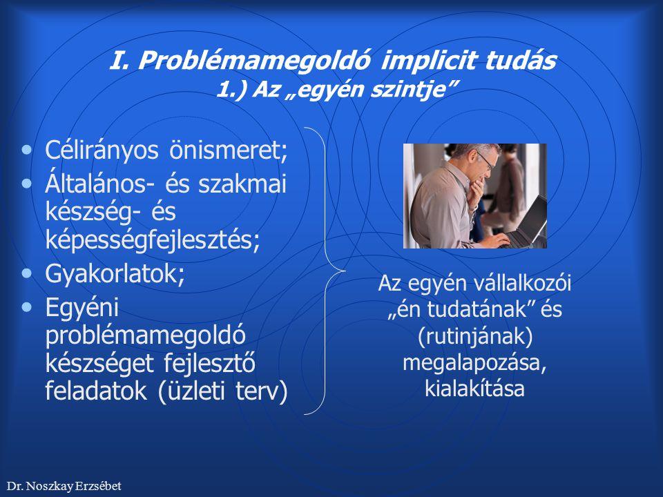"""I. Problémamegoldó implicit tudás 1.) Az """"egyén szintje"""