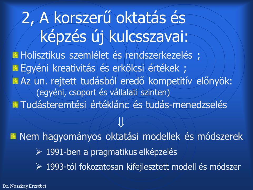 2, A korszerű oktatás és képzés új kulcsszavai:
