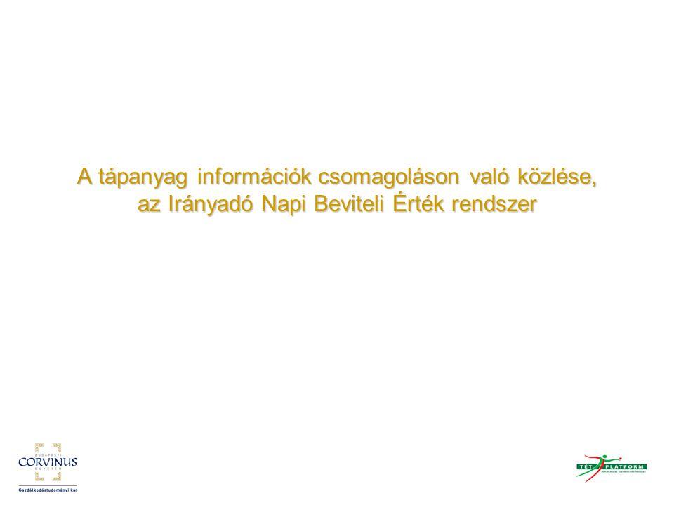 A tápanyag információk csomagoláson való közlése, az Irányadó Napi Beviteli Érték rendszer