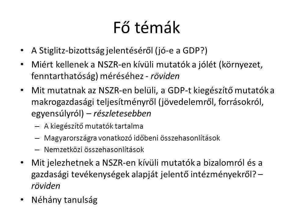 Fő témák A Stiglitz-bizottság jelentéséről (jó-e a GDP )