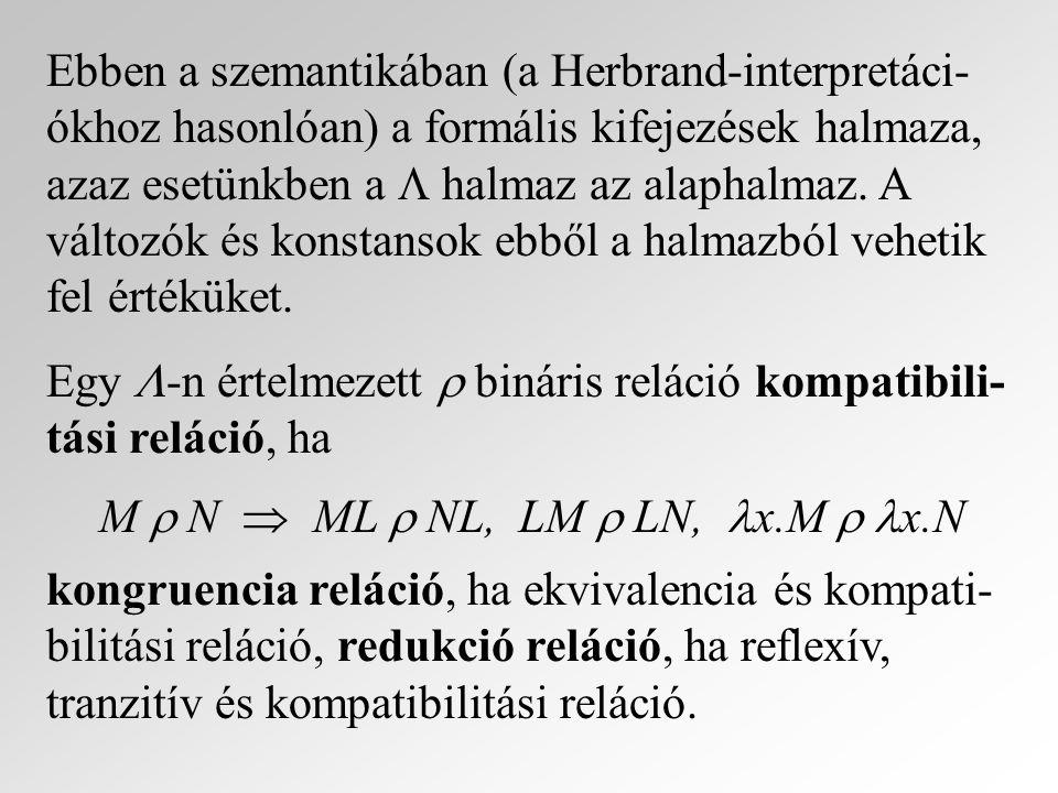 Ebben a szemantikában (a Herbrand-interpretáci-ókhoz hasonlóan) a formális kifejezések halmaza, azaz esetünkben a  halmaz az alaphalmaz. A változók és konstansok ebből a halmazból vehetik fel értéküket.