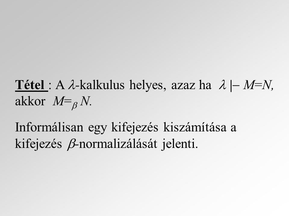 Tétel : A -kalkulus helyes, azaz ha  | M=N, akkor M= N.