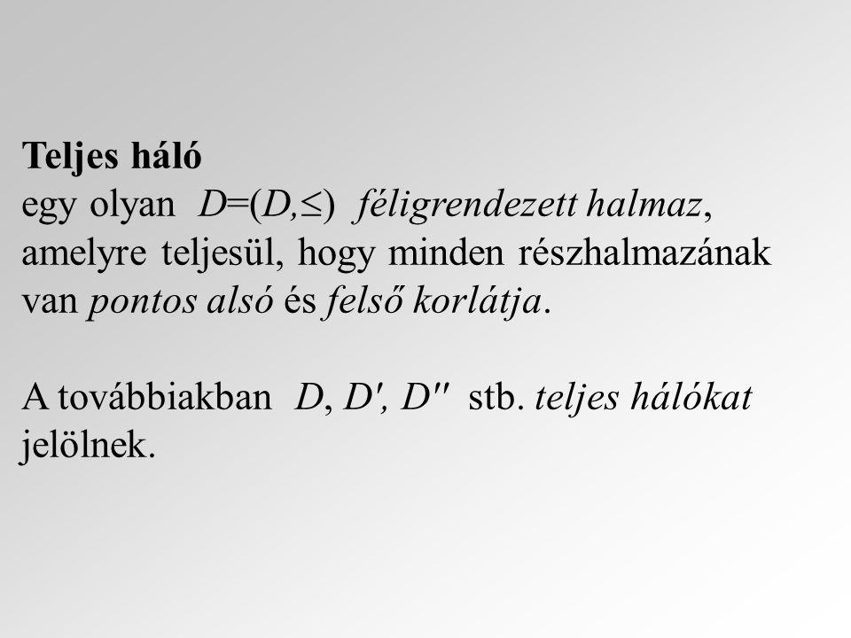 Teljes háló egy olyan D=(D,) féligrendezett halmaz, amelyre teljesül, hogy minden részhalmazának van pontos alsó és felső korlátja.