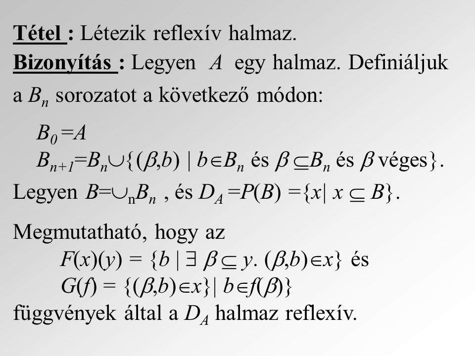 Tétel : Létezik reflexív halmaz.