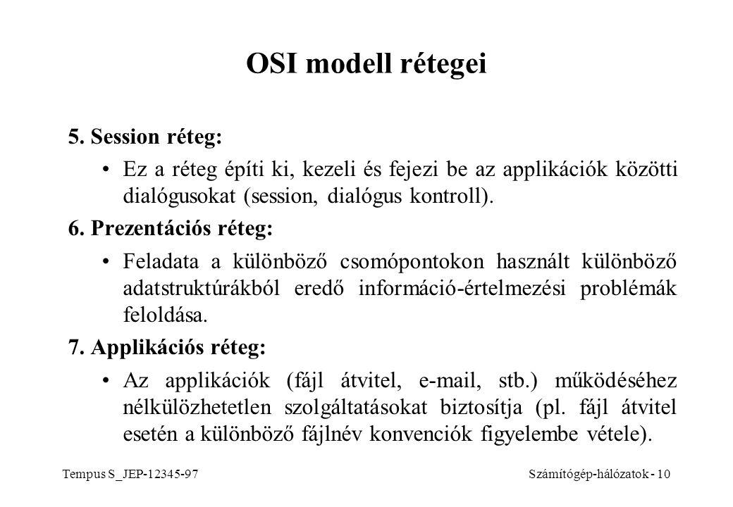OSI modell rétegei 5. Session réteg:
