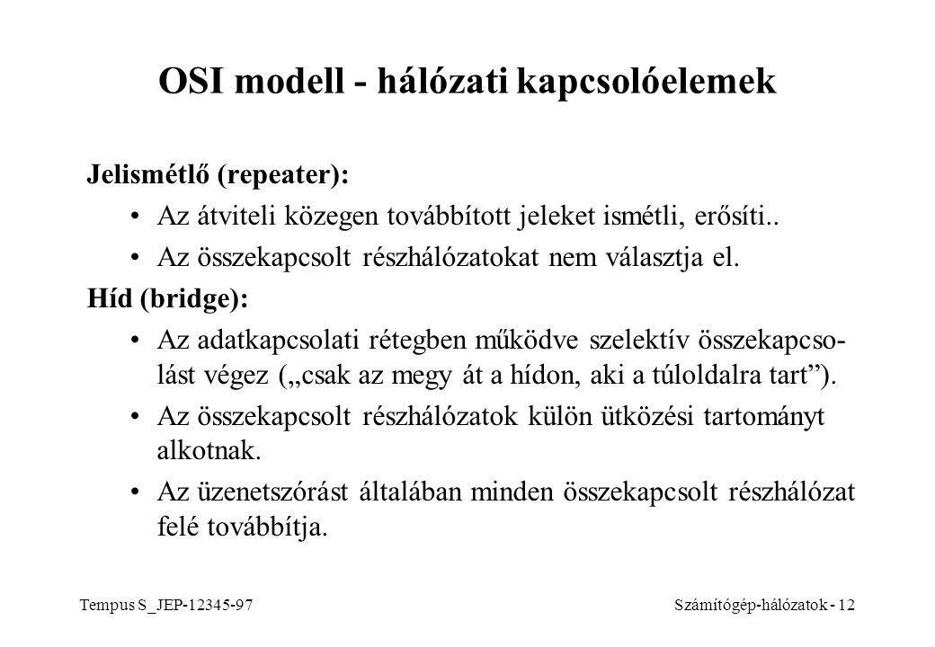 OSI modell - hálózati kapcsolóelemek