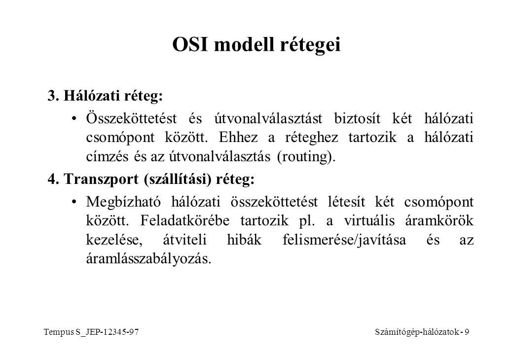OSI modell rétegei 3. Hálózati réteg: