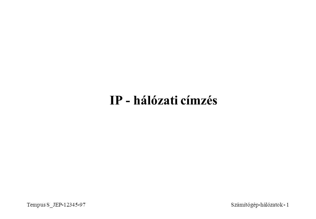 IP - hálózati címzés Tempus S_JEP-12345-97 Számítógép-hálózatok - 1