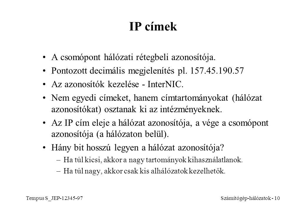 IP címek A csomópont hálózati rétegbeli azonosítója.