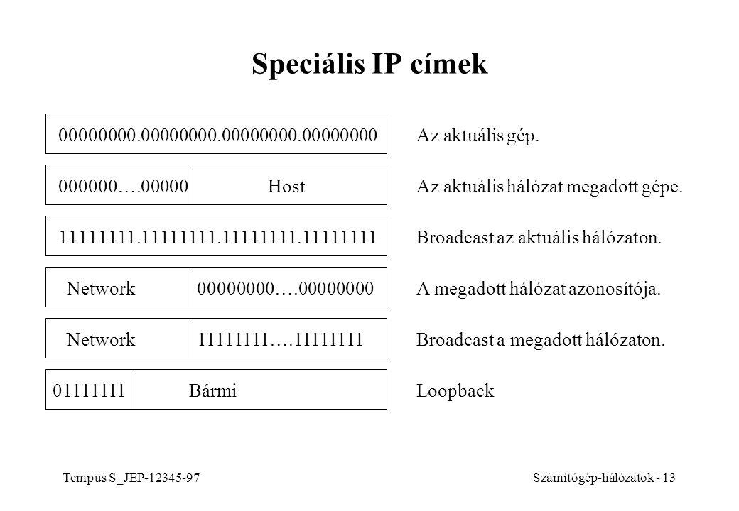Speciális IP címek 00000000.00000000.00000000.00000000. Az aktuális gép. 000000….00000 Host. Az aktuális hálózat megadott gépe.