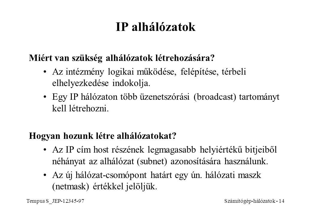 IP alhálózatok Miért van szükség alhálózatok létrehozására