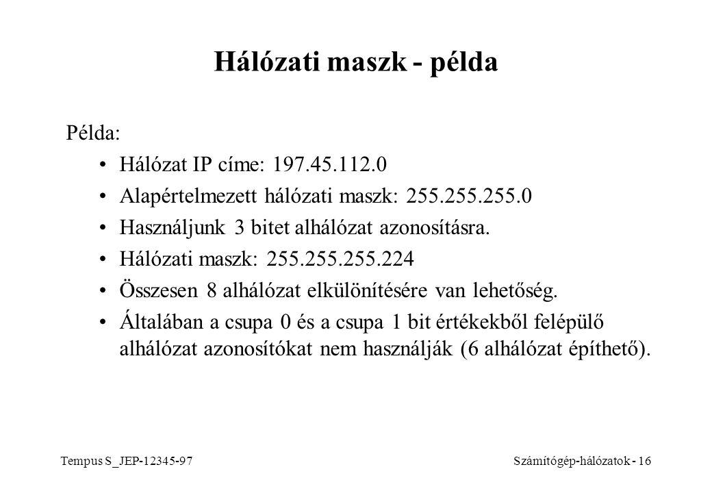 Hálózati maszk - példa Példa: Hálózat IP címe: 197.45.112.0