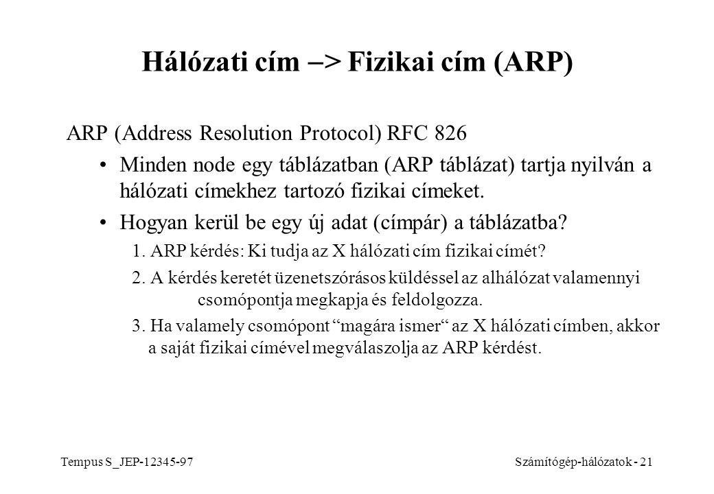 Hálózati cím -> Fizikai cím (ARP)