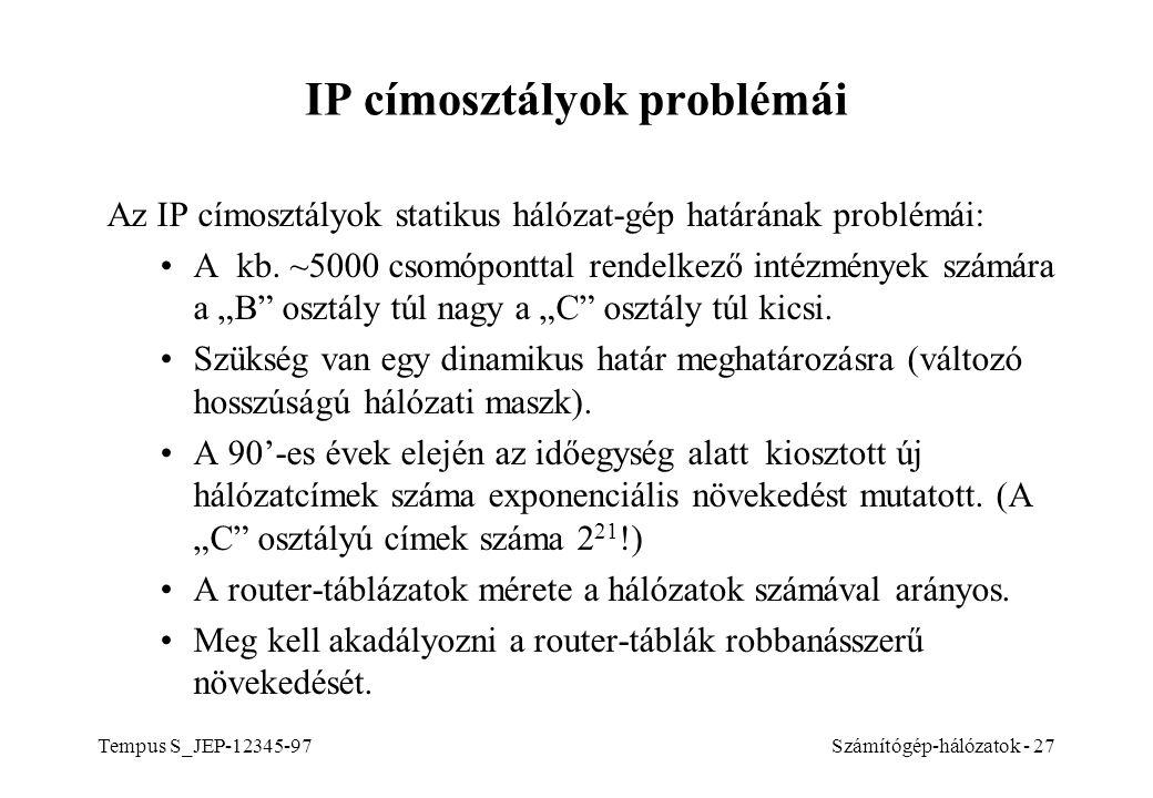 IP címosztályok problémái
