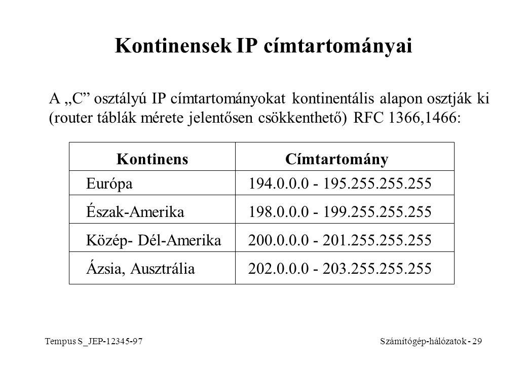 Kontinensek IP címtartományai