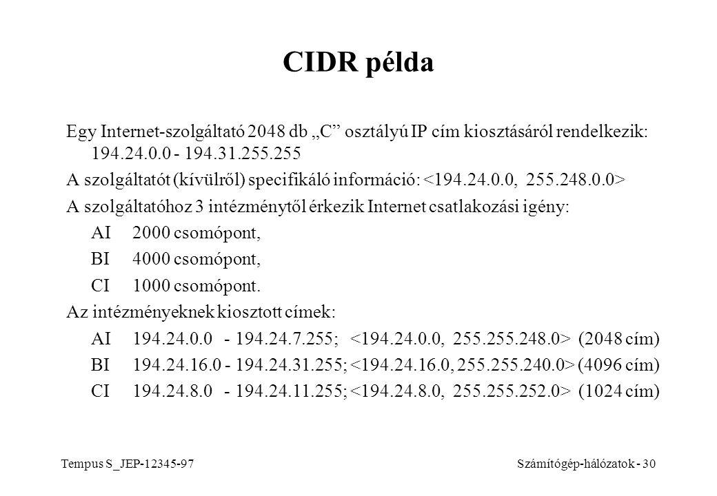 """CIDR példa Egy Internet-szolgáltató 2048 db """"C osztályú IP cím kiosztásáról rendelkezik: 194.24.0.0 - 194.31.255.255."""