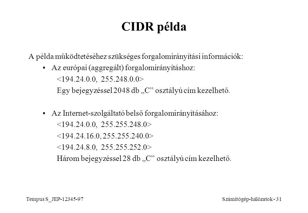 CIDR példa A példa működtetéséhez szükséges forgalomirányítási információk: Az európai (aggregált) forgalomirányításhoz: