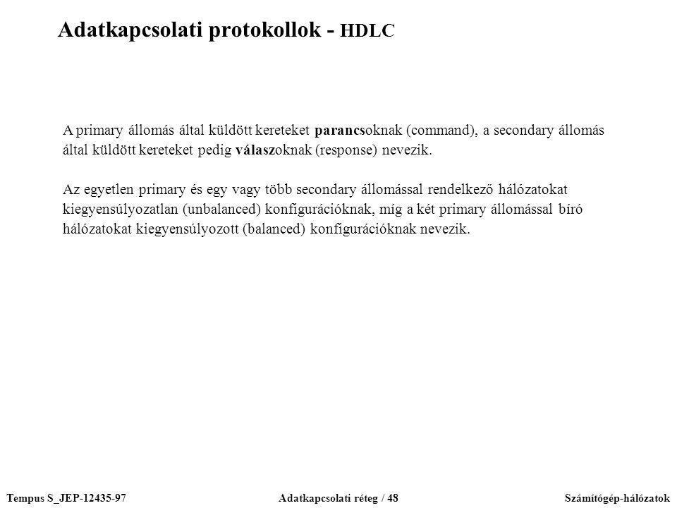 Adatkapcsolati protokollok - HDLC