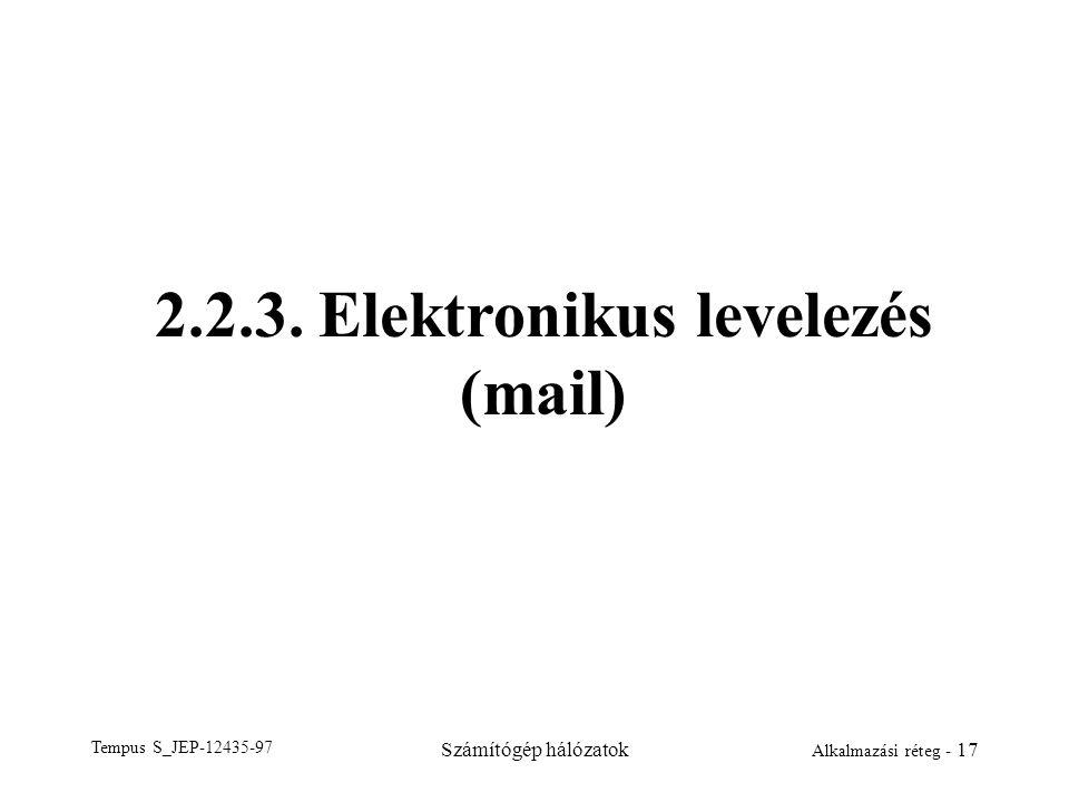 2.2.3. Elektronikus levelezés