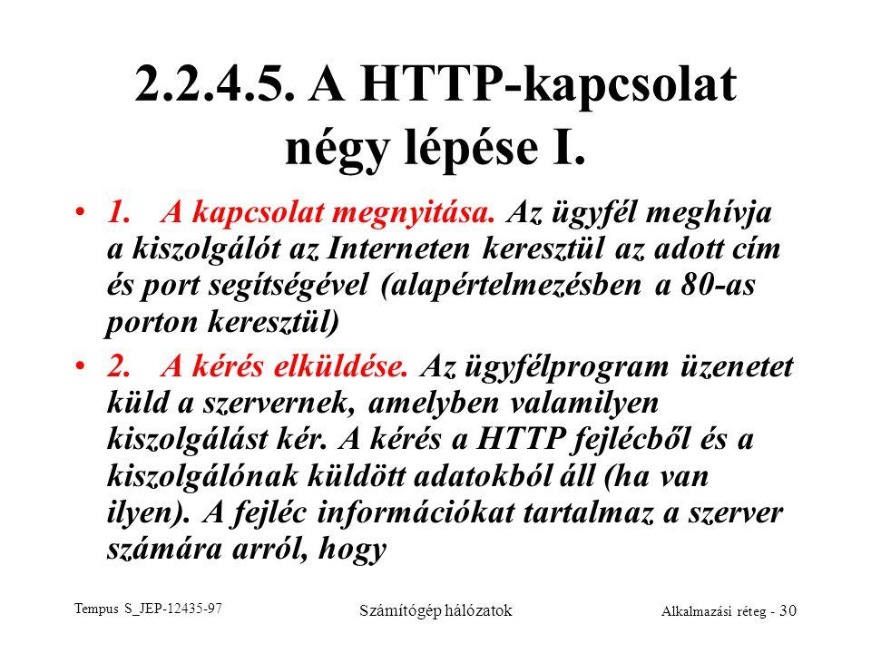 2.2.4.5. A HTTP-kapcsolat négy lépése I.