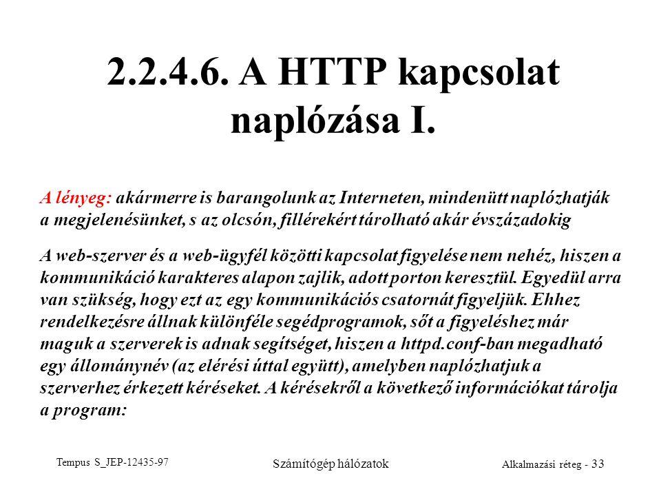 2.2.4.6. A HTTP kapcsolat naplózása I.