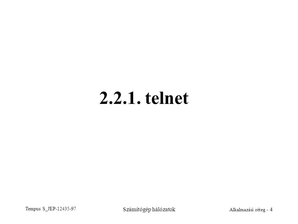 2.2.1. telnet Tempus S_JEP-12435-97 Számítógép hálózatok