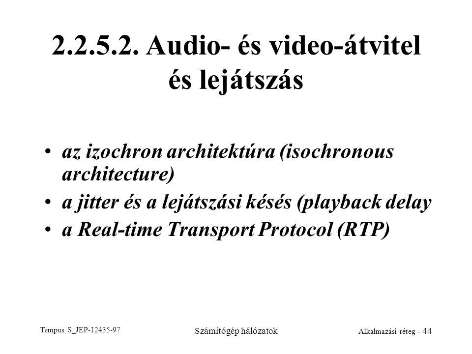 2.2.5.2. Audio- és video-átvitel és lejátszás
