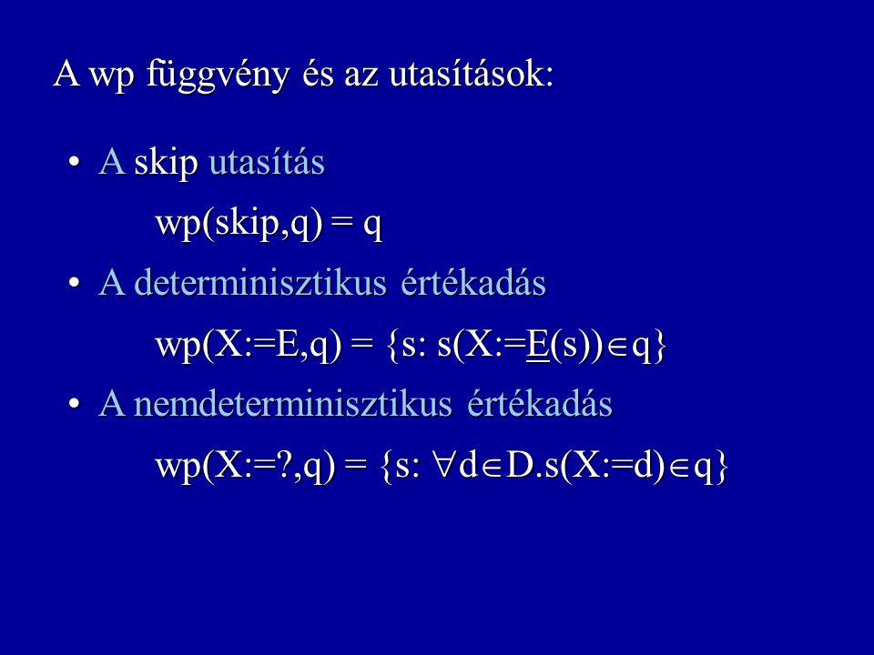 A wp függvény és az utasítások: