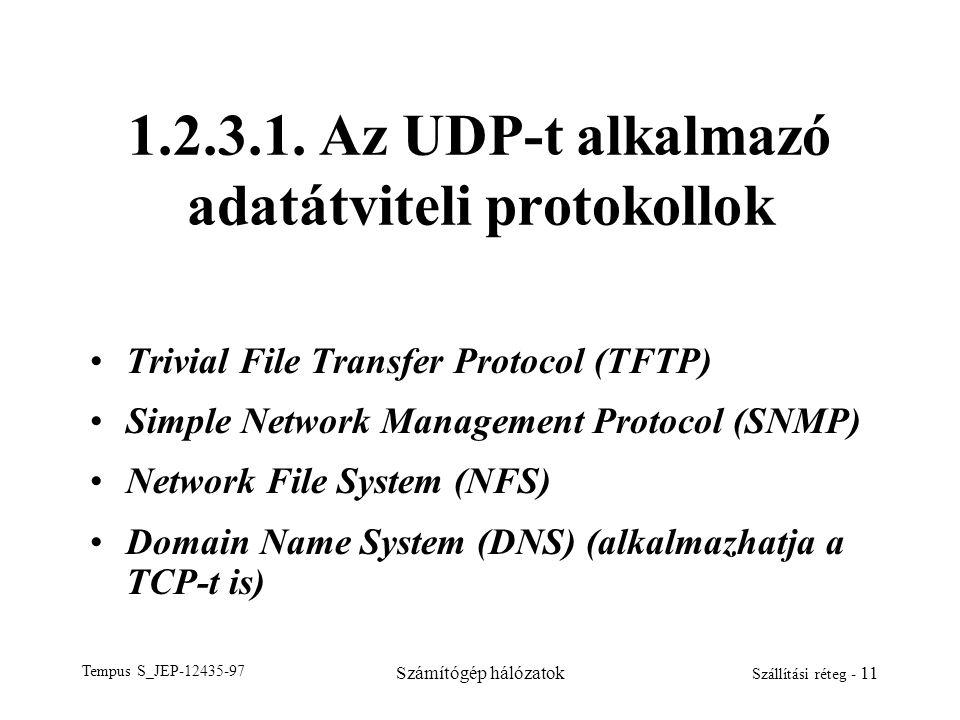 1.2.3.1. Az UDP-t alkalmazó adatátviteli protokollok