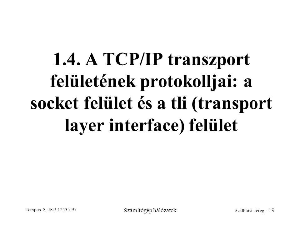1.4. A TCP/IP transzport felületének protokolljai: a socket felület és a tli (transport layer interface) felület