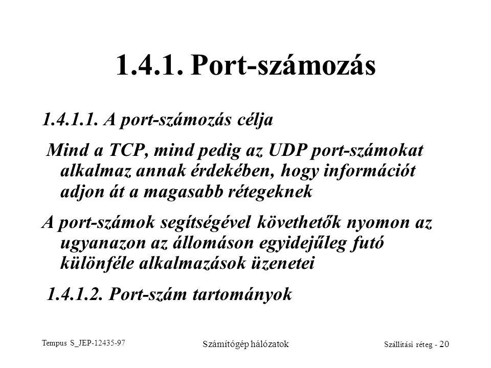 1.4.1. Port-számozás 1.4.1.1. A port-számozás célja